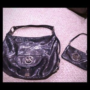 Authentic Michael Kors gunmetal purse w/ wristlet!